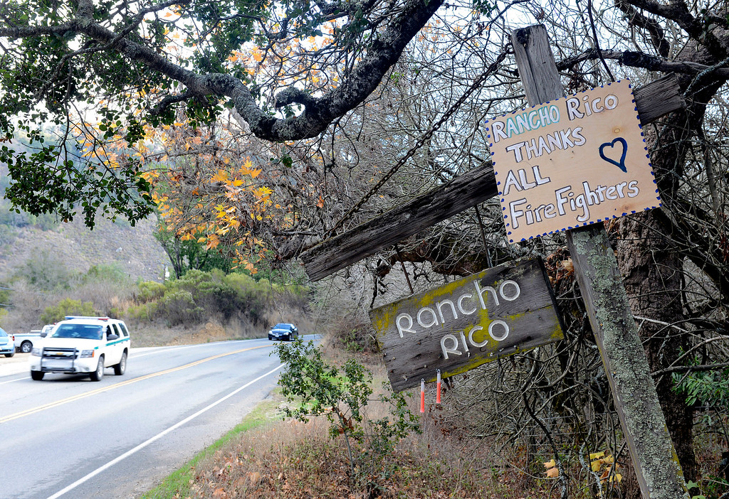 . A sign on Rancho Rico Road thanks firefighters as they continue work in Big Sur, Calif. on Thursday December 19, 2013. (Photo David Royal/ Monterey County Herald)