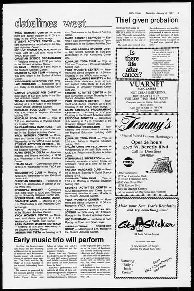Daily Trojan, Vol. 89, No. 61, January 06, 1981