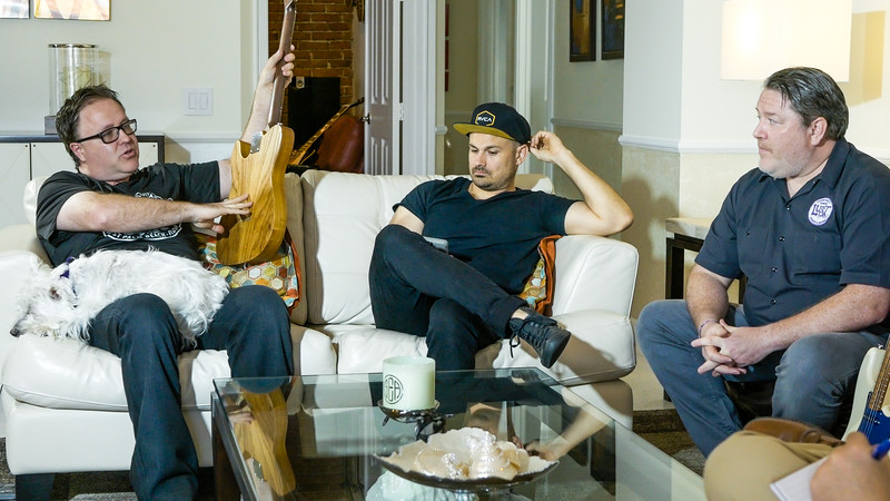 Greg Simpson (left), Chris Condon (middle), and Mark Simpson of Lust for Tone, a local custom guitar and pickup  company talk about their products at Greg Simpson's house in West Palm Beach on Friday, July 13, 2018. (Joseph Forzano / The Palm Beach Post)