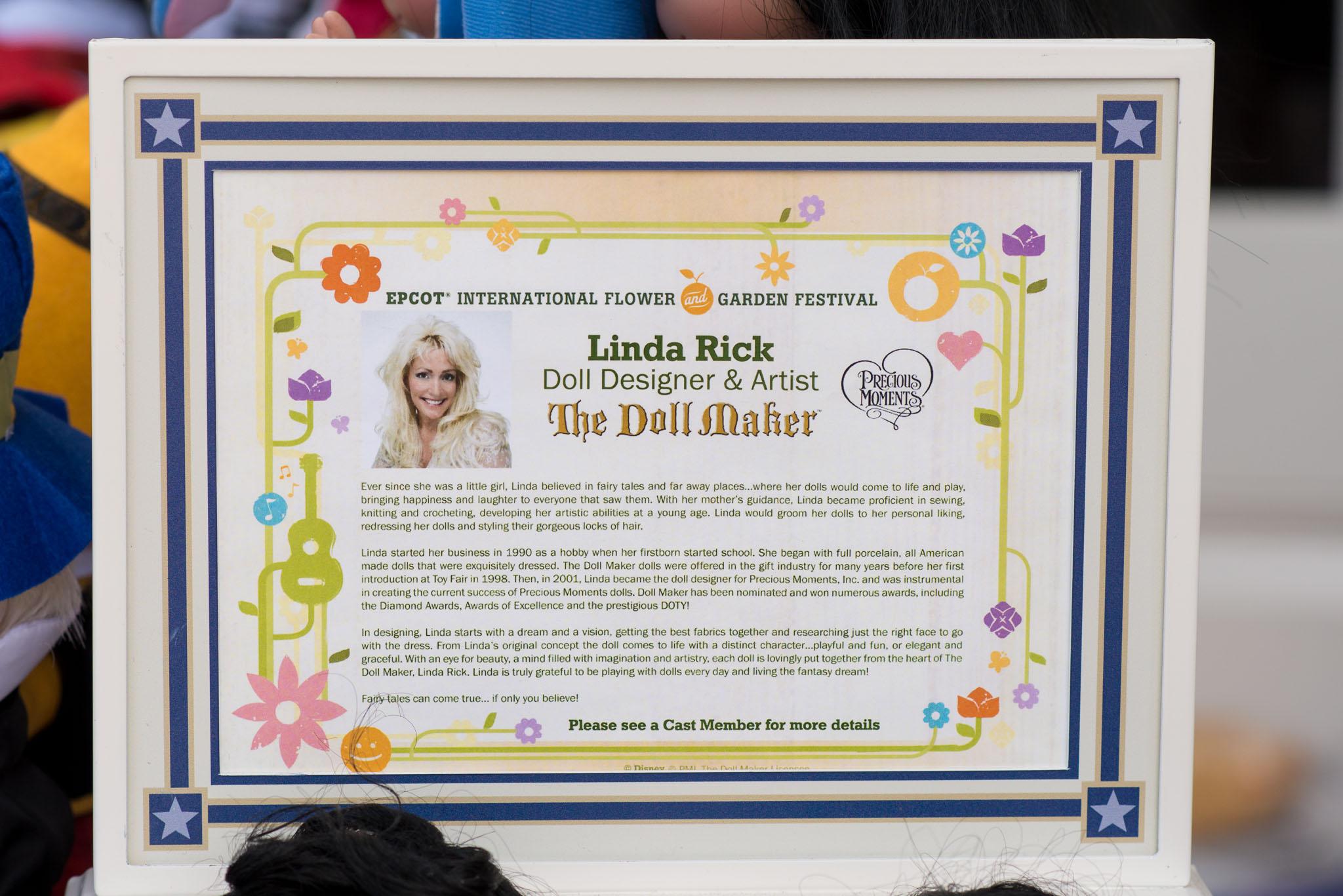 Precious Moments Disney Doll Collection - Linda Rick, Designer - Epcot Flower & Garden Festival 2016