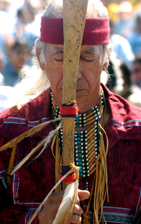 . Joseph Winter Hawk stops for a moment of prayer Saturday during the dedication of the Sand Creek Massacre National Historic Site on Saturday, April 28, 2007, 15-miles west of Eads, Colorado.  RJ Sangosti/ The Denver Post