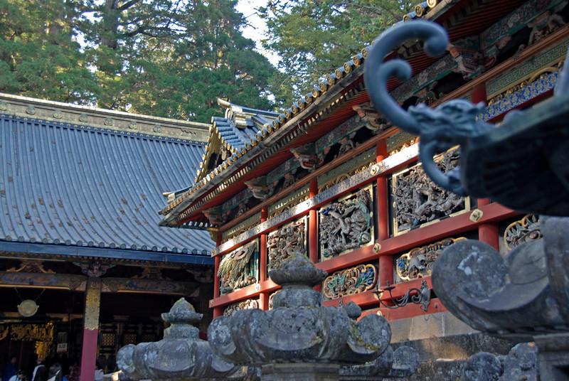 Closer shot of beautiful art display at a temple in Nikko, Japan