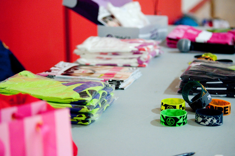 Items for sale to raise money for breast cancer awareness during Party for the Cure Sunday night in Bost Gym.