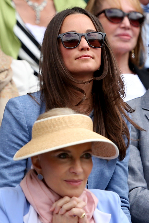 . Pippa Middleton and Princess Michael of Kent watch the Ladies\' Singles first round match between Kristina Mladenovic of France and Maria Sharapova of Russia on day one of the Wimbledon Lawn Tennis Championships at the All England Lawn Tennis and Croquet Club on June 24, 2013 in London, England.  (Photo by Clive Brunskill/Getty Images)
