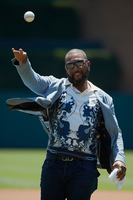 . Former Detroit Tigers Gary Sheffield throws out a ceremonial first prior to the baseball game between the Detroit Tigers and the Cleveland Indians in Detroit, Sunday, July 2, 2017. (AP Photo/Rick Osentoski)
