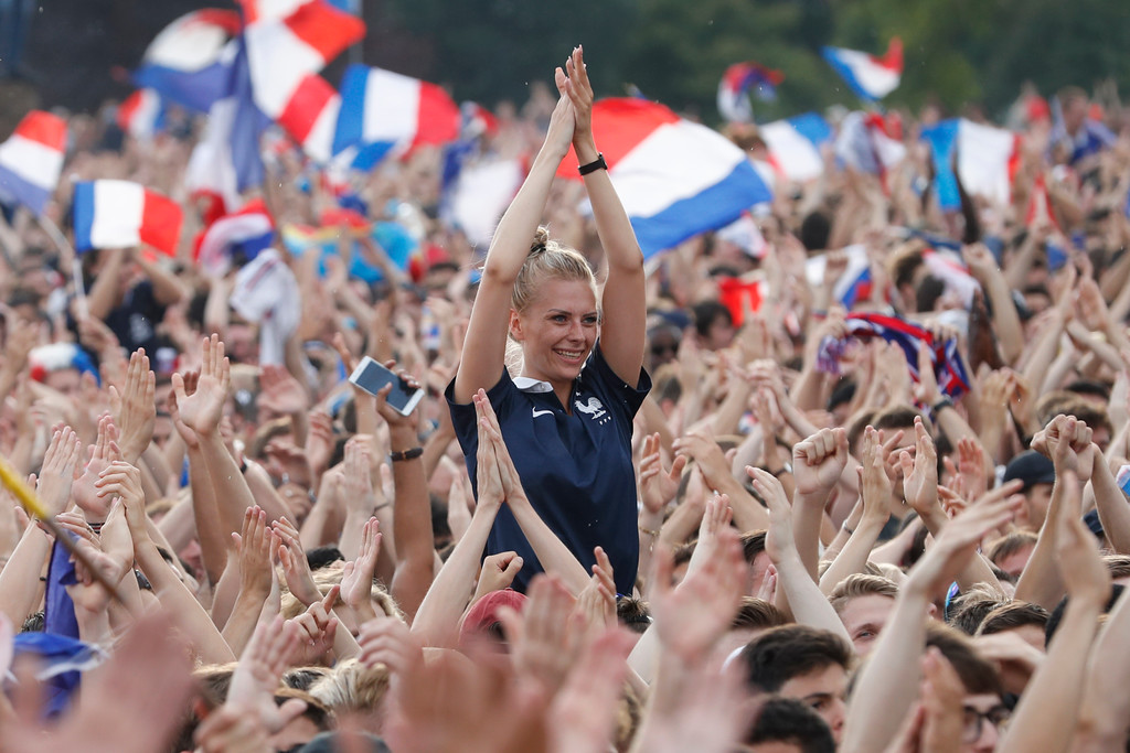 . French soccer fans celebrate France\'s World Cup victory over Croatia Croatia, in Strasbourg, eastern France, Sunday, July 15, 2018. France won the final 4-2. (AP Photo/Jean-Francois Badias)
