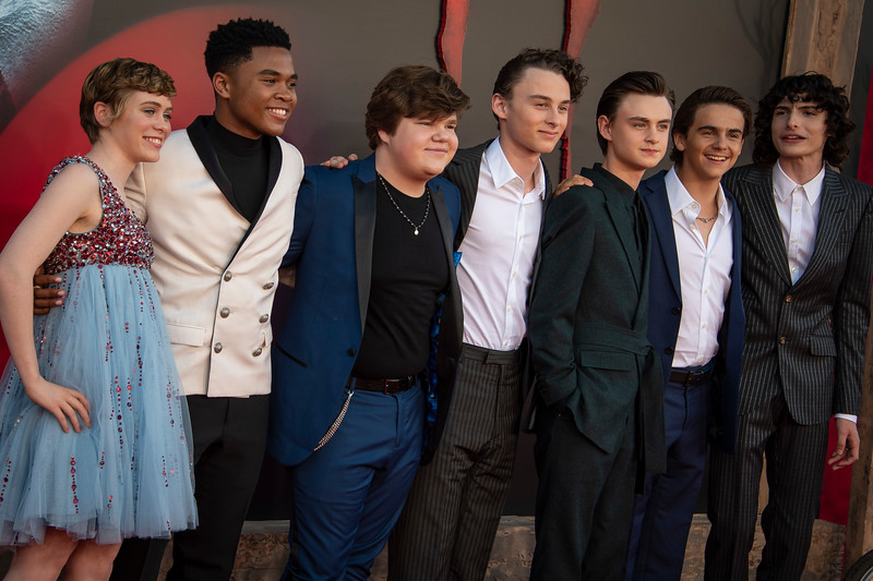 "WESTWOOD, CA - AUGUST 26: Sophia Lillis, Chosen Jacobs, Jeremy Ray Taylor, Wyatt Oleff, Jaeden Martell, Jack Dylan Grazer and Finn Wolfhard attend the Premiere Of Warner Bros. Pictures' ""It Chapter Two"" at Regency Village Theatre on Monday, August 26, 2019 in Westwood, California. (Photo by Tom Sorensen/Moovieboy Pictures)"