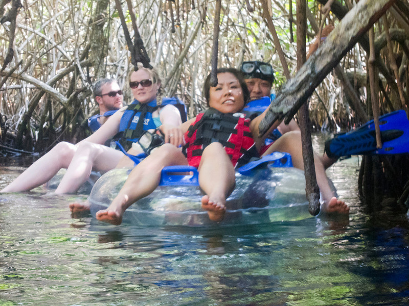 Tubing down the slow river