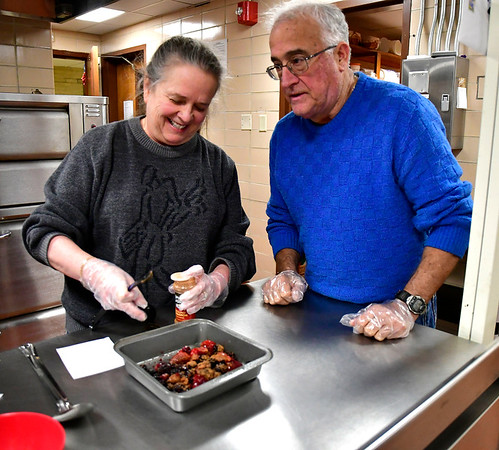 1/15/2020 Mike Orazzi | StaffrDanna and Dick Fanelli during during a cooking class at the Bristol Senior Center on Wednesday.