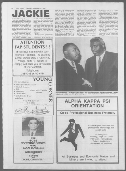 Daily Trojan, Vol. 105, No. 13, September 21, 1987