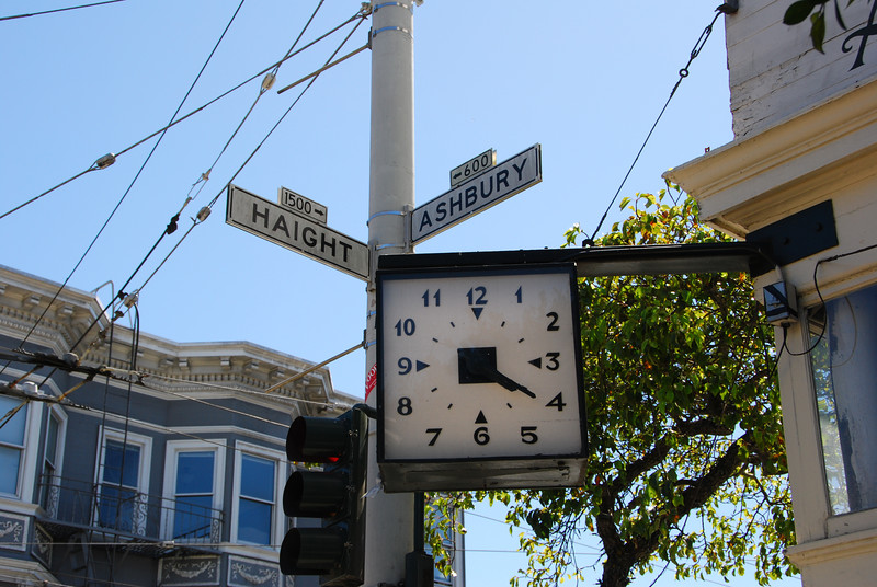 The corner of Haight and Ashbury.  Apparently, this clock is stuck at 4:20.