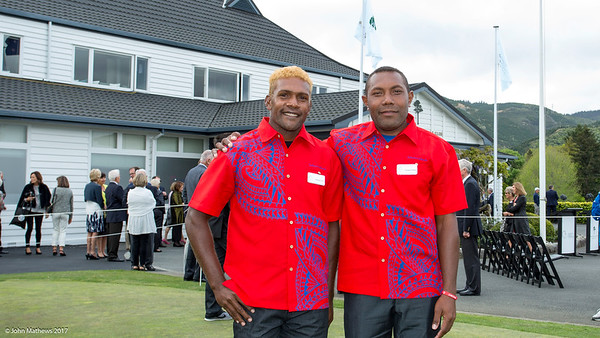 George Rukabo and Thomas Felani from Solomon Islands at the Powhiri and Official welcome to players, guests and spectators of the Asia-Pacific Amateur Championship tournament 2017 held at Royal Wellington Golf Club, in Heretaunga, Upper Hutt, New Zealand on 25 October 2017. Copyright John Mathews 2017 www.john .mathews@xtra.co.nz