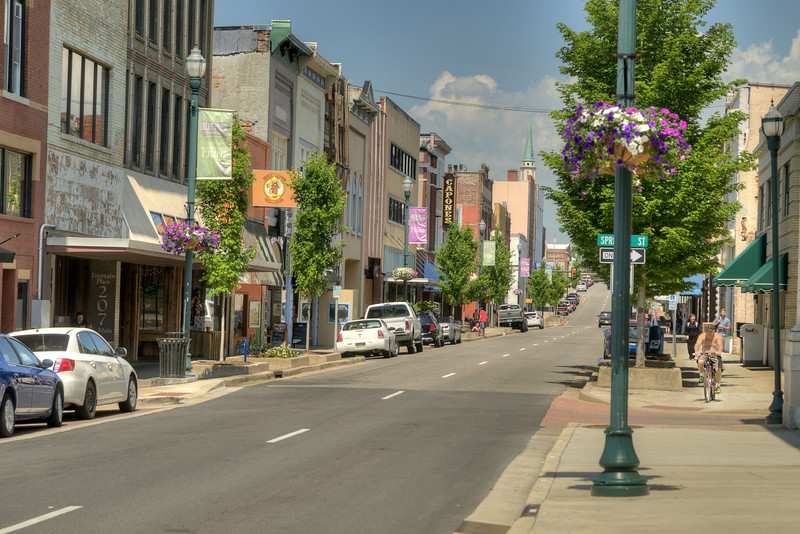 View along Main Street in Downtown Johnson City, TN on Saturday, May 31, 2014. Copyright 2014 Jason Barnette