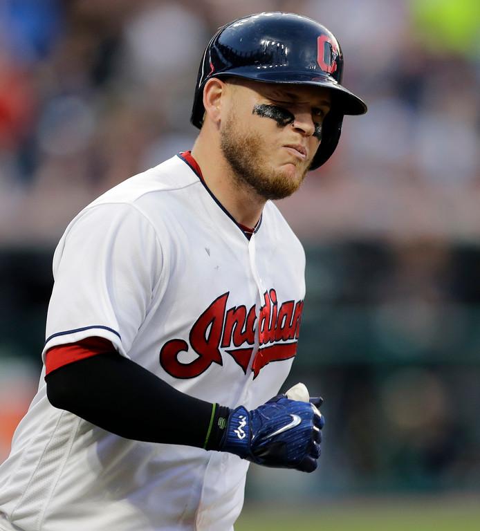 . Cleveland Indians\' Roberto Perez winks as he runs the bases after hitting a solo home run off Los Angeles Dodgers starting pitcher Clayton Kershaw during the fifth inning of a baseball game, Tuesday, June 13, 2017, in Cleveland. (AP Photo/Tony Dejak)