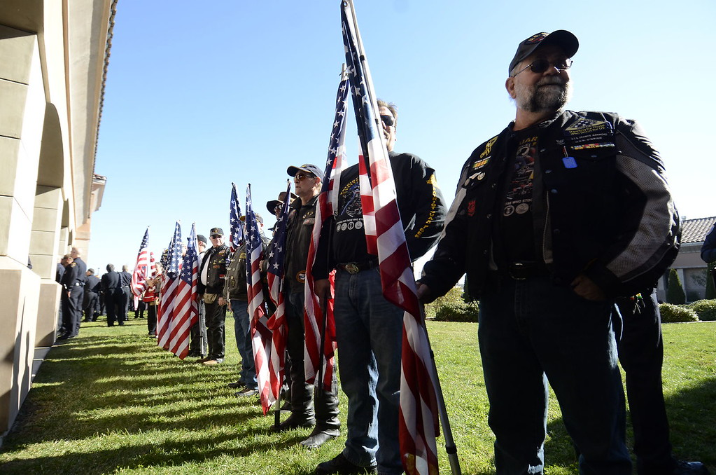 . Today\'s funeral for fallen Riverside police Officer Michael Crain to draw thousands, including Gov. Jerry Brown.  The service, was held at at Grove Community Church, 19900 Grove Community Drive in Riverside, has increased security.  (Jeff Gritchen/Staff Photographer)