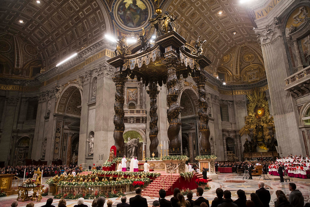 . Pope Francis celebrates a new year\'s eve vespers Mass in St. Peter\'s Basilica at the Vatican, Wednesday, Dec. 31, 2014. The traditional Mass on Dec. 31 contains the thanksgiving hymn \'\'Te Deum\' for the ending year and is the last public appearance of the pope in 2014. (AP Photo/Andrew Medichini)