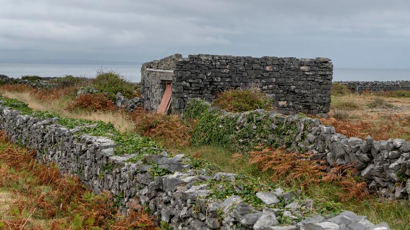 View of abandoned stone house, Kilronan, Inishmore, Aran Islands, County Galway, Ireland