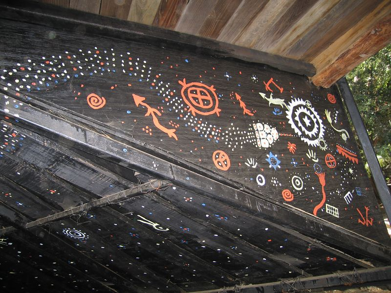 Interior, community house. Tongva Village reconstruction,  2 Jul 2005.