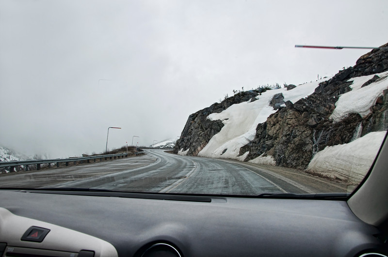 Entering the White Pass area.  Where's the road?!!!   That's what we were saying as we drove into the clouds.