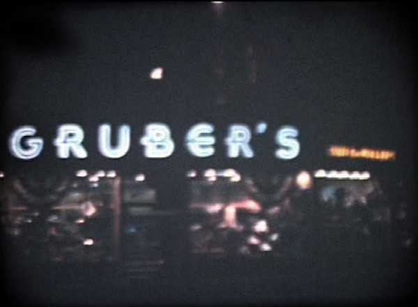 Night time  shot of Grubers clothing store in Union Center from a 1948 film shot to commemorate Union's 140th anniversary.