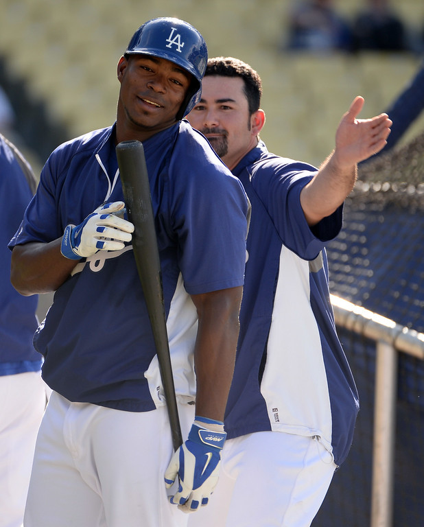 . Los Angeles Dodgers\' Yasiel Puig, left, have fun with teammate Adrian Gonzalez prior to a Major league baseball game between the San Diego Padres and the Los Angeles Dodgers on Saturday, July 12, 2014 in Los Angeles.   (Keith Birmingham/Pasadena Star-News)