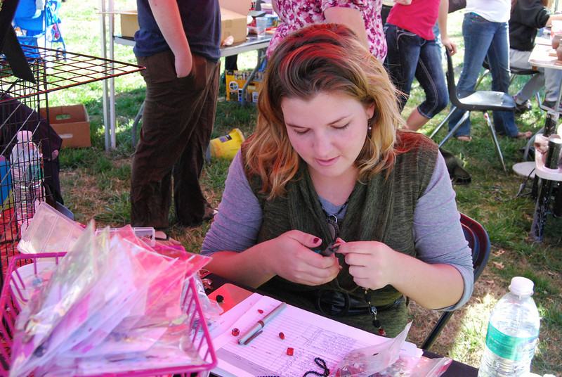 Julie Furr sold her hand-made jewelry at the artclub booth raising money for HopeFest.
