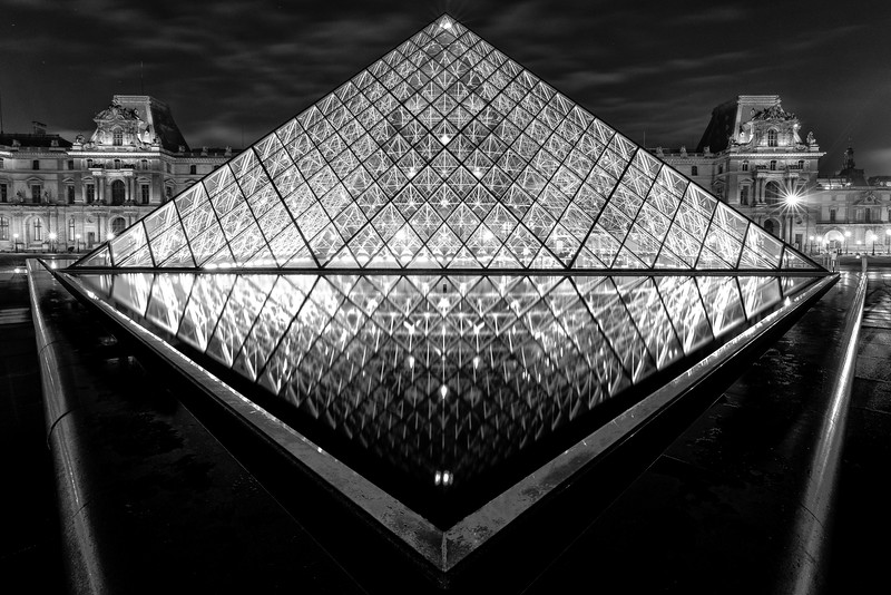Louvre Pyramid and Reflecting Pool in Black and White