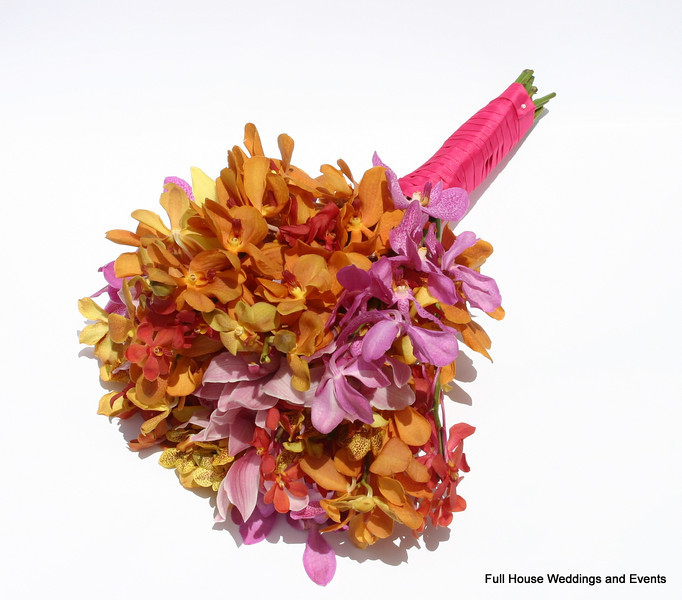 Tropical  Bouquet - Orange, Yellow & Hot Pink Mokara Orchids and pink cymbidium orchids