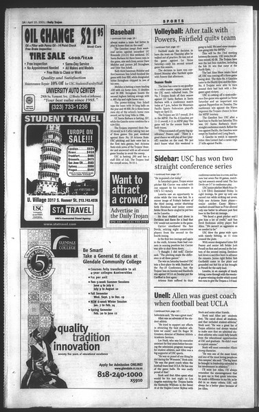 Daily Trojan, Vol. 142, No. 55, April 10, 2001