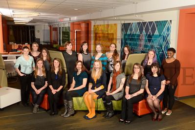 10449 COECS Women in Engineering group photo in Russ Lobby 1-12-13