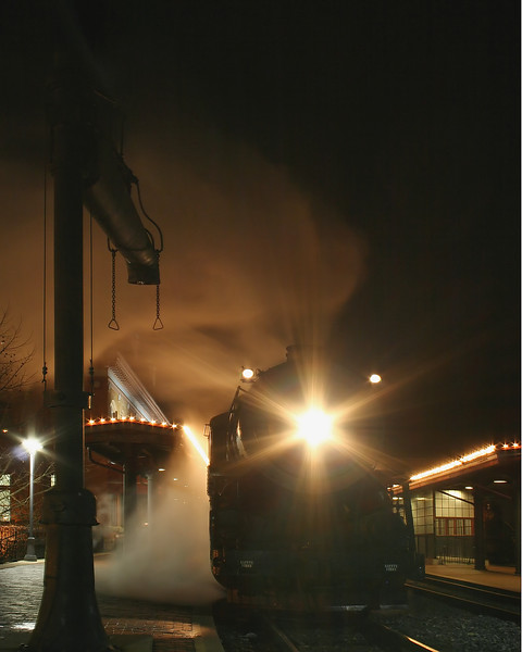 #734 approached the pump on a late night run Western Maryland Scenic Railroad