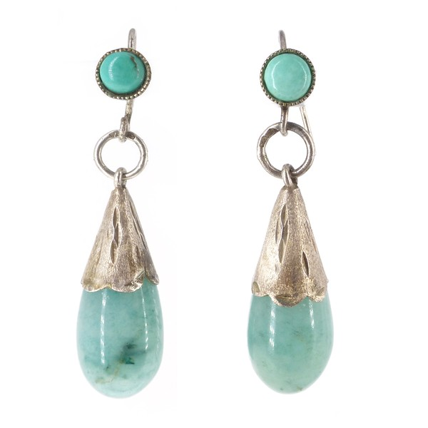 Antique Art Deco Silver Turquoise & Aventurine Drop earrings