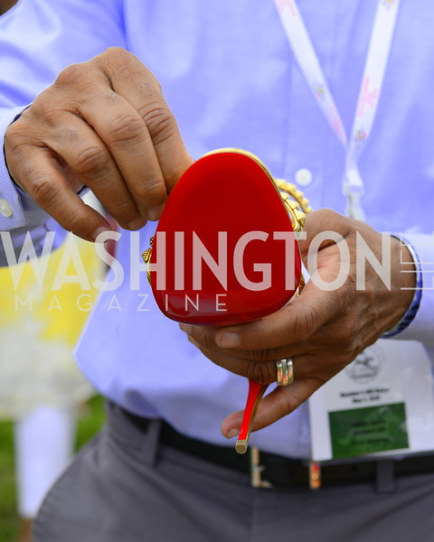 Red sole of Christian Louboutin gold shoe, DC09 Party at the 2019 Gold Cup, Great Meadow, May 4, 2019, photo by Nancy Milburn Kleck
