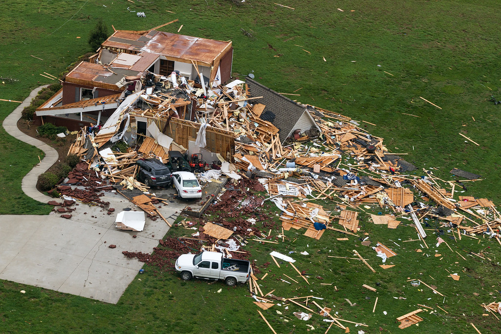 . This aerial photo shows a home damaged by a tornado near Fayetteville, Tenn., on Wednesday, April 30, 2014. Gov. Bill Haslam visited the area near the Alabama line that suffered heavy damage and two fatalities during Monday\'s storms. (AP Photo/Erik Schelzig)