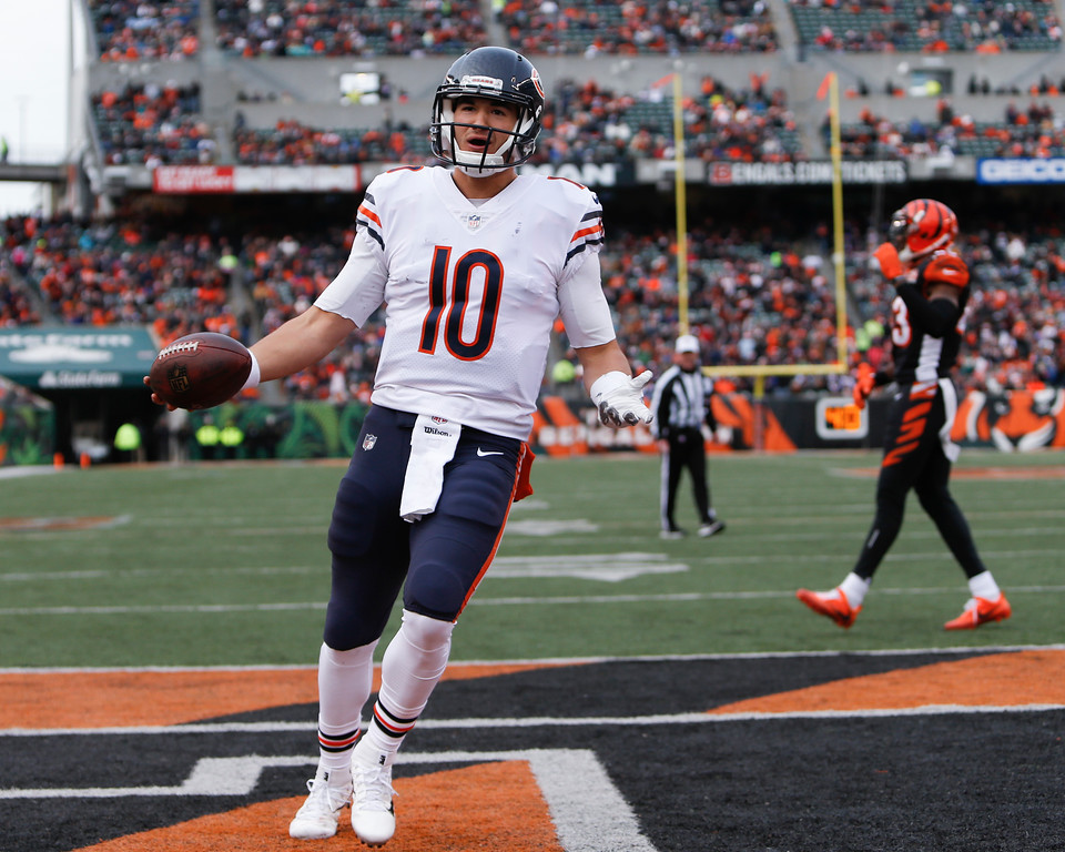 . Chicago Bears quarterback Mitchell Trubisky celebrates after running in a touchdown in the second half of an NFL football game against the Cincinnati Bengals, Sunday, Dec. 10, 2017, in Cincinnati. (AP Photo/Frank Victores)