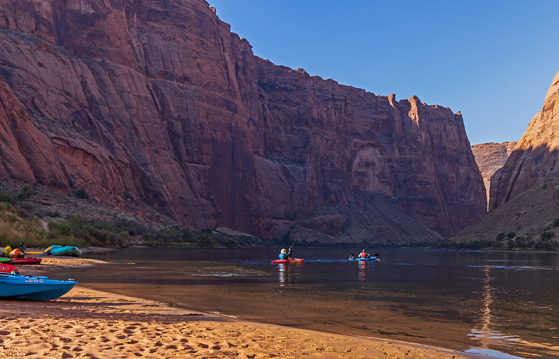 Kayakers Heading Down Colorado River in AZ