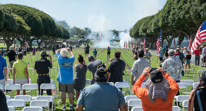 21-gun salute -- 21 consecutive artillery shots rather than three rounds of seven rifle shots
