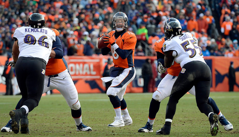 . Denver Broncos quarterback Peyton Manning (18) looks for a receiver during the first quarter.  The Denver Broncos vs Baltimore Ravens AFC Divisional playoff game at Sports Authority Field Saturday January 12, 2013. (Photo by John Leyba,/The Denver Post)