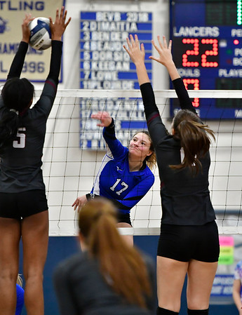 11/8/2018 Mike Orazzi | Staff Bristol Eastern High School's Gabriella Nozzolillo (17) during the Class L Second Round State Girls Volleyball Tournament in Bristol Thursday night.