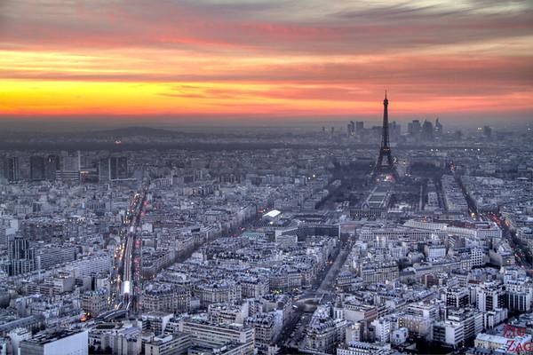 Sunset view Paris from Montparnasse Tower 4