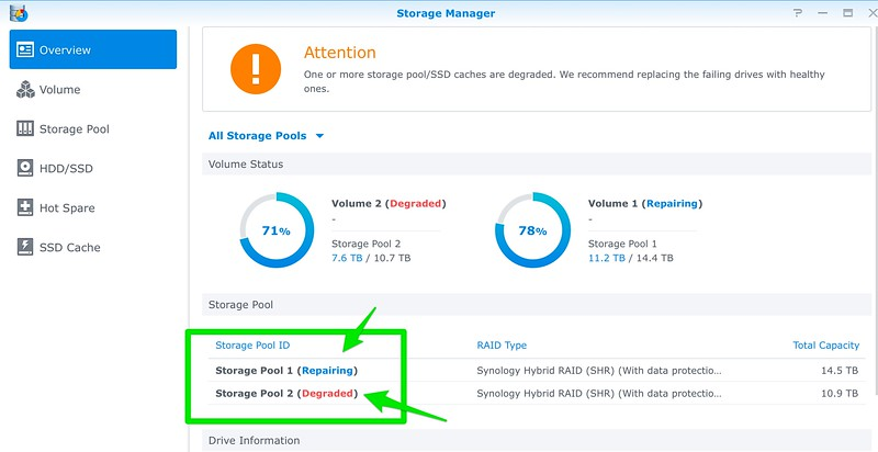 Two volumes in Synology going to bad states