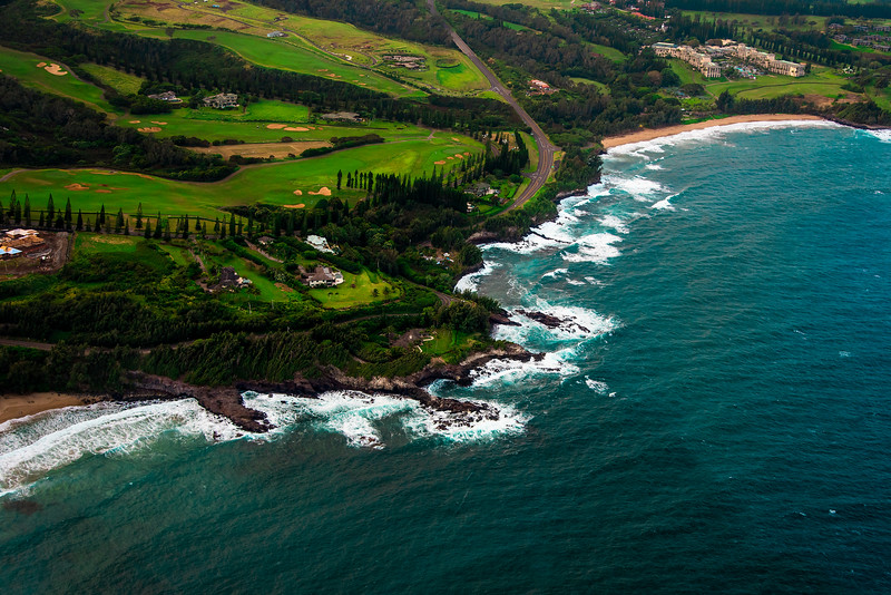 Maui coastline from above, Hawaii