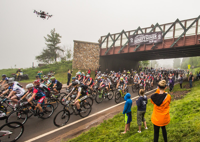 Start of the Lutsen 99er, 39er, and 19er bike races at Lutsen Mountains - 2014