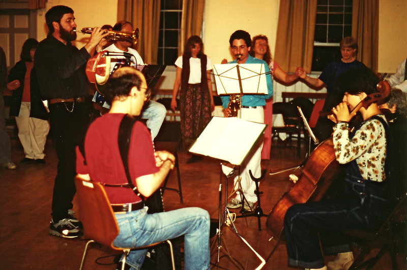 Panharmonium gig in Troy, N.H. May 1995.  Guest cellist, Irene.
