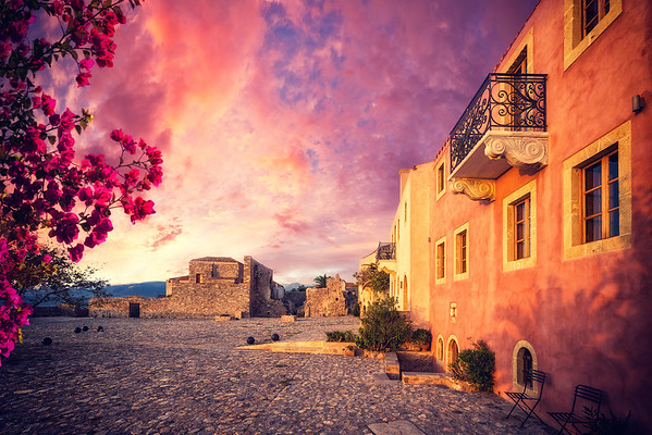 The beautiful Byzantine castle town of Monemvasia in Laconia