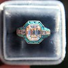 2.23ct Art Deco Emerald Cut and Turquoise Halo Ring 27