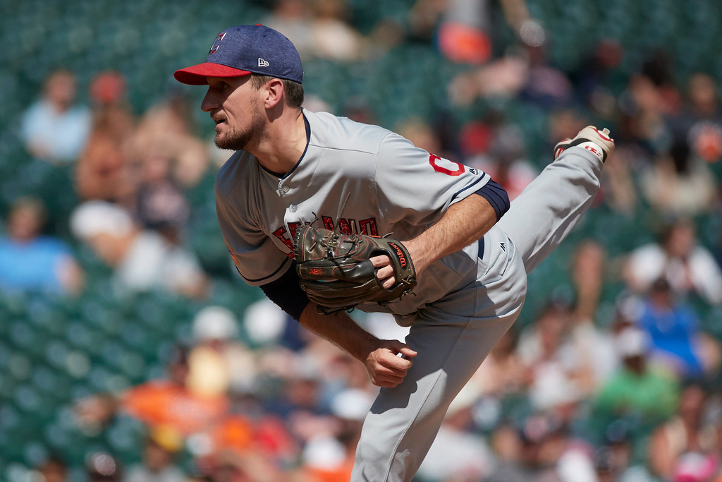 . Cleveland Indians relief pitcher Dan Otero pitches against the Detroit Tigers during the eighth inning of a baseball game in Detroit, Sunday, July 2, 2017. (AP Photo/Rick Osentoski)