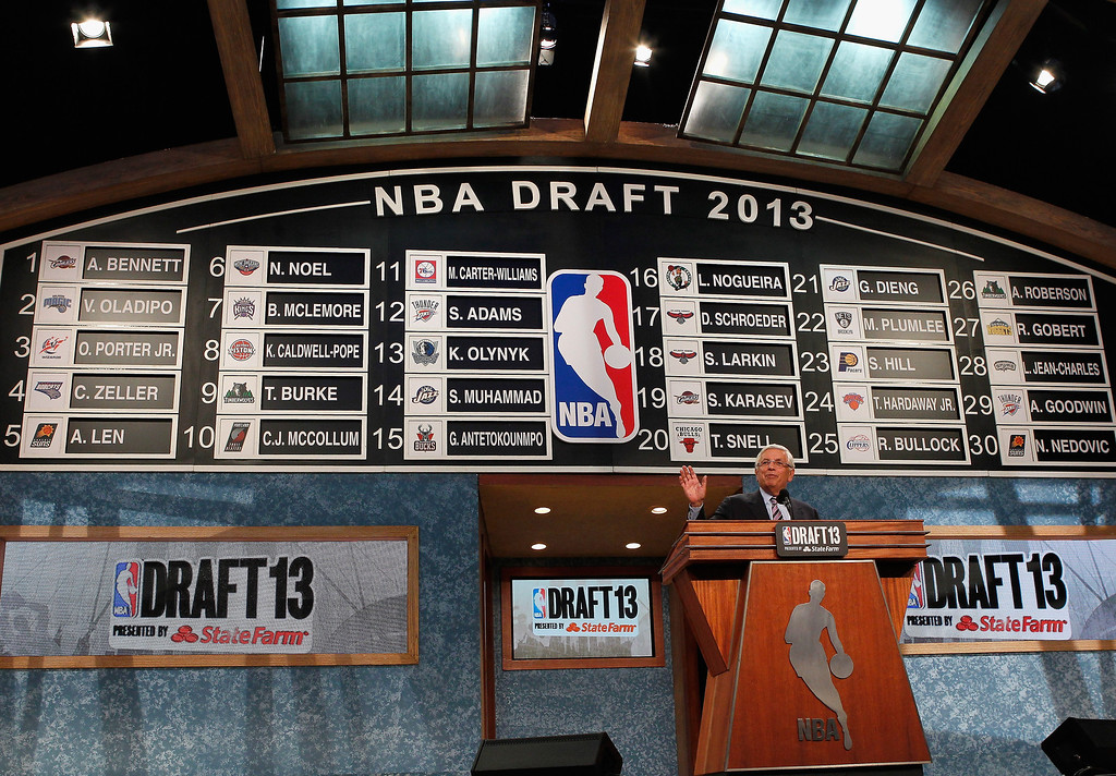 . NBA Commissioner David Stern speaks on stage at the end of the first round during the 2013 NBA Draft at Barclays Center on June 27, 2013 in in the Brooklyn Bourough of New York City.   (Photo by Mike Stobe/Getty Images)