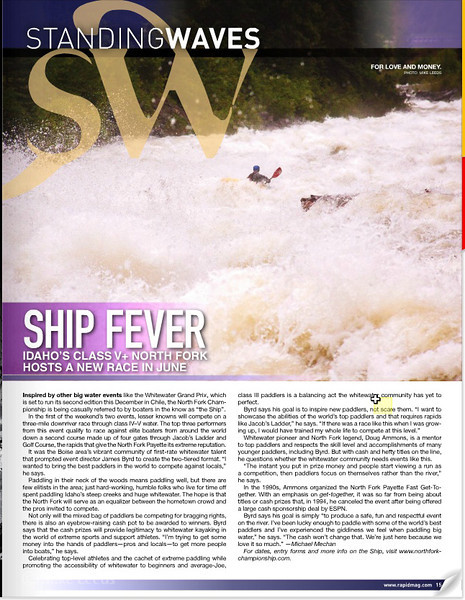 Rapid Magazine-Tristan McLaren kayaking Jacob's Ladder on the North Fork Payette River at record flows. (Photo Upper Right)