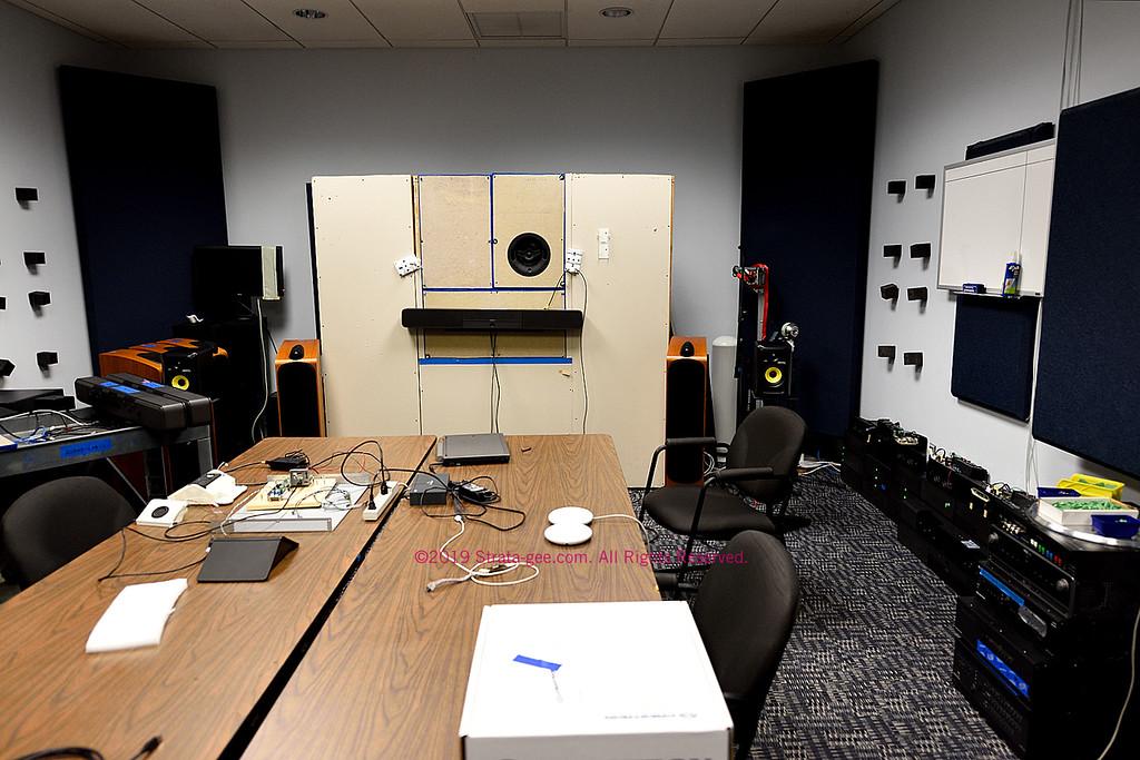 A Crestron audio testing room